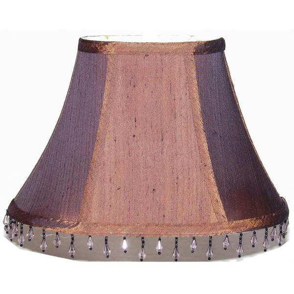 dark brown oval shantung silk double lined lamp shade with bead trim. Black Bedroom Furniture Sets. Home Design Ideas