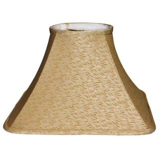 Crown Lighting Lamp Factory Tan with Damask Leaf Pattern Large Linen Square Lamp Shade with Self Trim