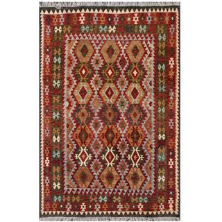 Herat Oriental Afghan Hand-woven Tribal Kilim Brown/ Black Wool Rug (6'7 x 9'7)
