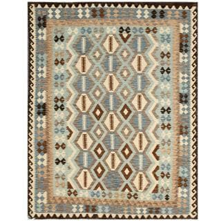 Herat Oriental Afghan Hand-woven Tribal Kilim Light Blue/ Black Wool Rug (5'9 x 7'4)