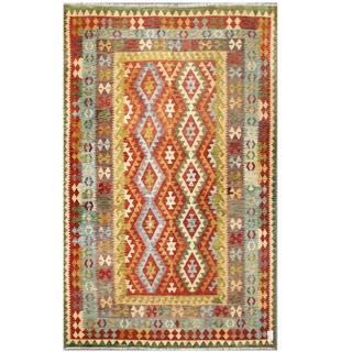 Herat Oriental Afghan Hand-woven Tribal Kilim Beige/ Light Green Wool Rug (6'4 x 9'9)