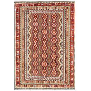 Herat Oriental Afghan Hand-woven Tribal Kilim Black/ Beige Wool Rug (8' x 11'4)