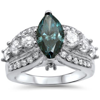 14k Gold 2 1/2ct TDW Certified Marquise-cut Blue Diamond Engagement Ring
