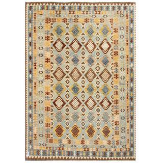 Herat Oriental Afghan Hand-woven Tribal Kilim Light Blue/ Brown Wool Rug (8'1 x 11'9)