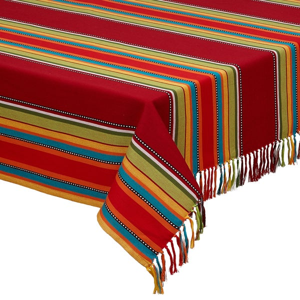 Caliente Stripe Fringed Tablecloth