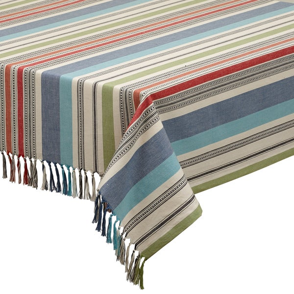 Mediterranean Cotton Stripe Tablecloth