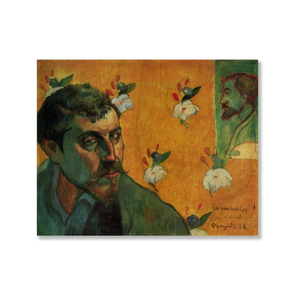 Paul Gauguin's 'Self-Portrait Dedicated to Vincent van Gogh (Les Miserables)' Print on Wood