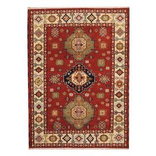 Herat Oriental Indo Hand-knotted Tribal Kazak Red/ Navy Wool Rug (5'5 x 7'6)