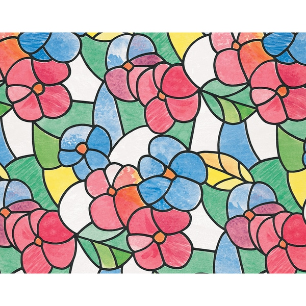 Red and Blue Stained Glass Window Film