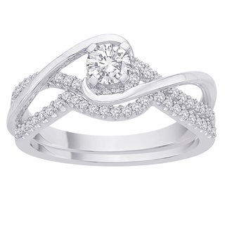 14k White Gold 3/5ct TDW Diamond Bridal Ring Set (G-H, I2-I3)