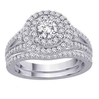 14k White Gold 1 1/4ct TDW Diamond Bridal Ring Set (G-H, I2-I3)