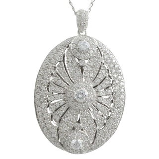 Sterling Silver Cubic Zirconia Scalloped Statement Oval Locket Pendant Necklace