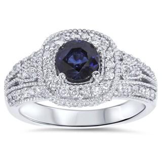 Bliss 14k White Gold 1/2ct TDW Diamond Blue Sapphire Engagement Ring (H-I, I2-I3)