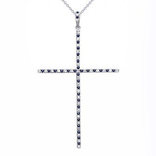 Beverly Hills Charm Sterling Silver 0.80ct TGW Blue and White Sapphire Large Cross Necklace