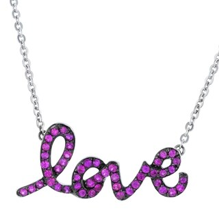 Beverly Hills Charm Sterling Silver 3/4ct. TGW Pink Sapphire LOVE Necklace