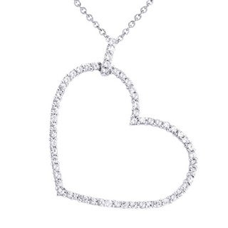 Beverly Hills Charm Sterling Silver 1.5ct. TGW White Sapphire Heart Necklace