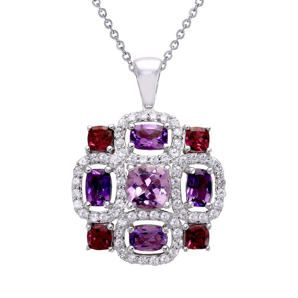Beverly Hills Charm Sterling Silver 6ct. TGW Amethyst, Rhodolite and White Sapphire Necklace
