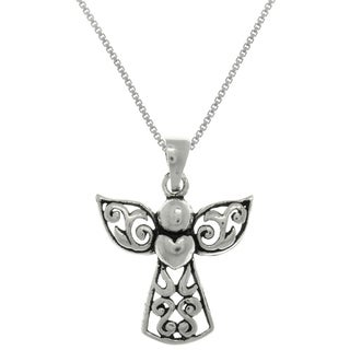 Carolina Glamour Collection Sterling Silver Small Filigree Angel with Heart Pendant on 18 Inch Box Chain Necklace
