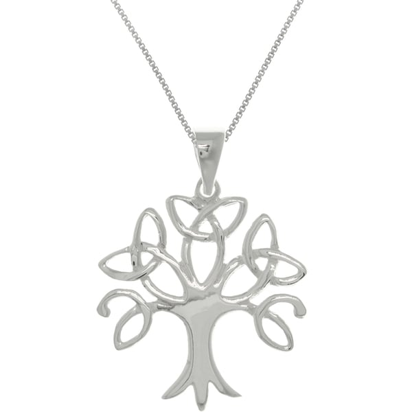Carolina Glamour Collection Sterling Silver Tree of Life Celtic Trinity Knot Pendant Necklace