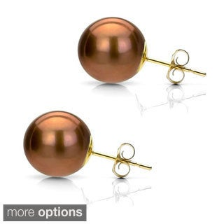 Suzy Levian 14K Yellow Gold Round Chocolate Brown Freshwater Pearl Stud Earrings