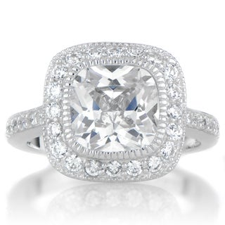 Sterling Silver Cushion- cut Cubic Zirconia Engagement Ring