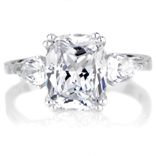 Serling Silver Cubic Prong-set Zirconia Engagement Ring