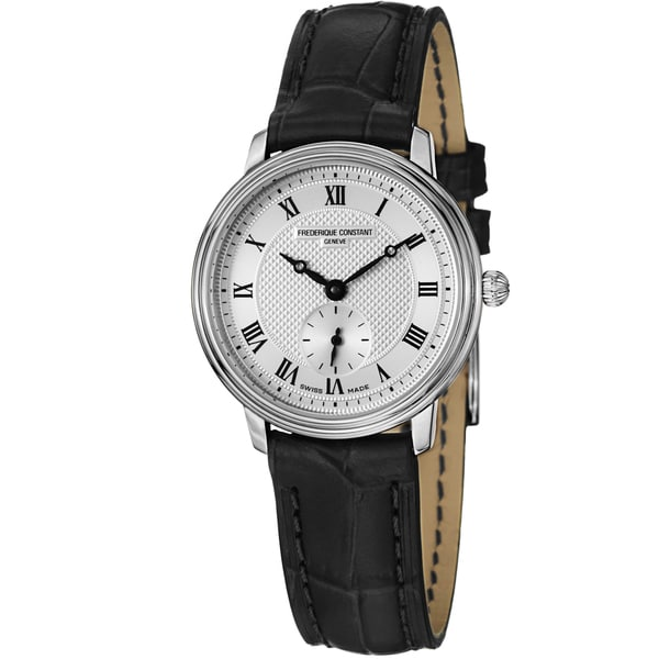 Frederique Constant Women's FC-235M1S6 Slim Line Silver Dial Black Leather Swiss Quartz Watch