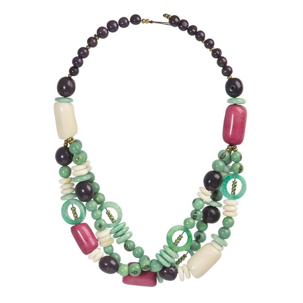 Faire Collection Sea Green Miranda Seed and Tagua Necklace (Ecuador)