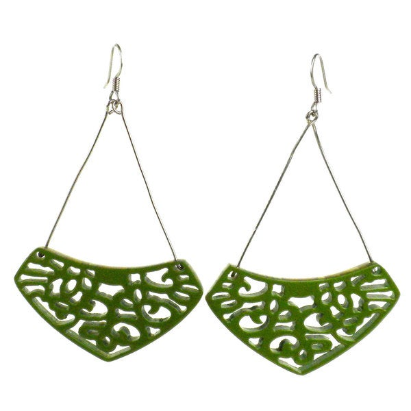 Faire Collection Leaf Green Simone Lace Earrings (Cambodia)