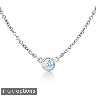 Suzy Levian 14k White Gold 1/6ct TDW Bezel Diamond Solitaire Necklace (G-H, SI1-SI2)