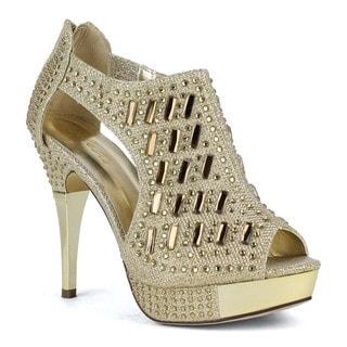 Celeste Women's Anastasia-04 Shining Gold Tone High Heel d'Orsay Pumps