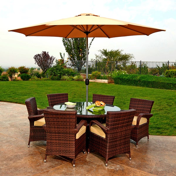 the Hom Obero 8 piece Outdoor Wicker Dining Set