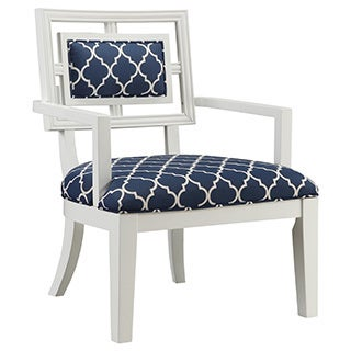 Christopher Knight Home Howerton White and Navy Geometric Accent Chair