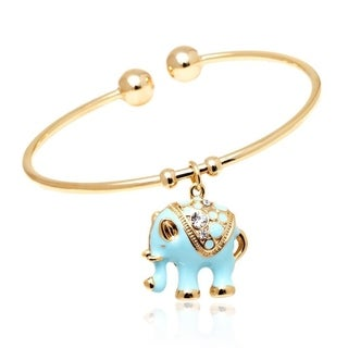18k Yellow Gold-plated Goldtone and Blue Elephant Charm Bangle with Crystal Details
