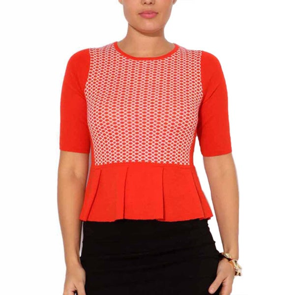 Mosse Women's Red/ White Wool-blend Waffle Knit Top
