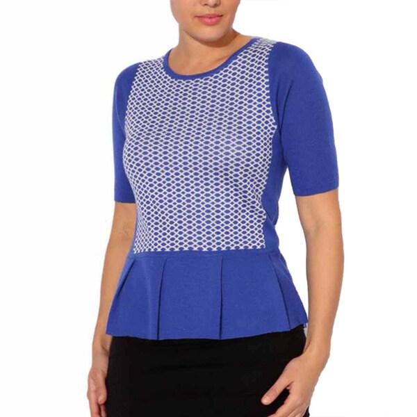 Mosse Women's Blue/ White Wool-blend Waffle Knit Top
