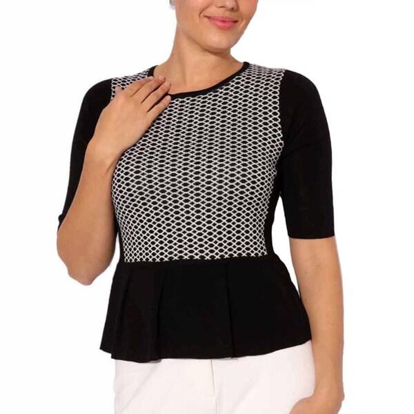 Mosse Women's Black/ White Wool-blend Waffle Knit Top