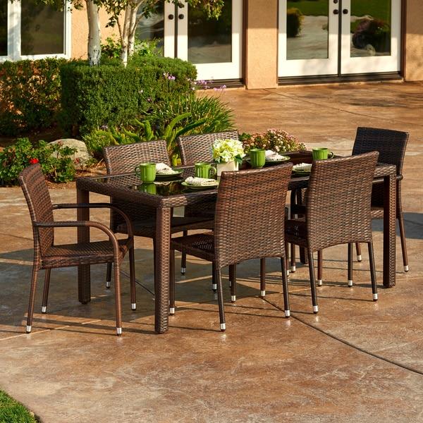 the hom toria 7 piece outdoor wicker dining set 16996639 overstock
