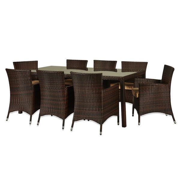 the Hom Doha 9 piece Outdoor Wicker Dining Set Overstock Sho