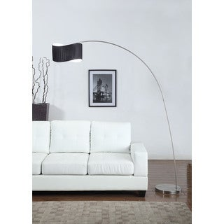 Artiva Curve 81-inch Black Curved Shade Brushed Steel Floor Lamp