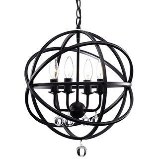 Benita Antique Bronze Metal Sphere 4-light Crystal Chandelier