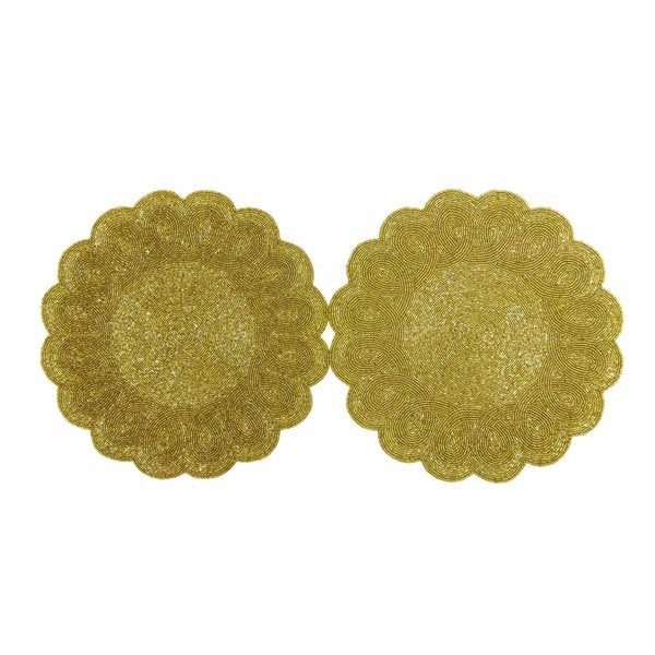 Celebration Scalloped 2-piece Beaded Charger Set