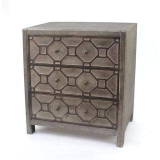 Brown Wood Dresser with Geometric Design