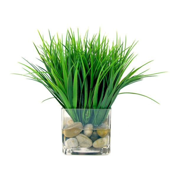 Creative Displays Vanilla Grass Silk Flowers in Acrylic Water Filled Glass Cube Vase 14829177