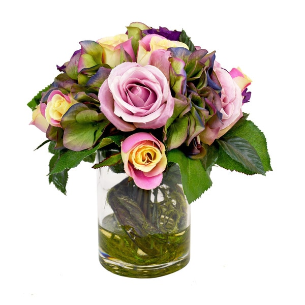Creative Displays Kaleidoscope Hydrangea with Pink Roses Silk Flower Bouquet in Glass Vase