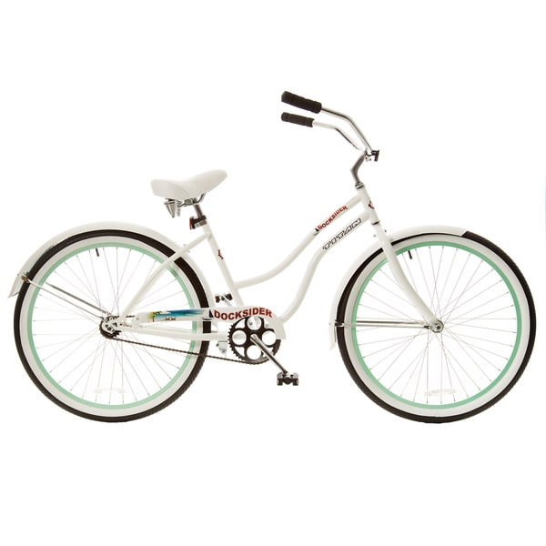 Titan Docksider White Single Speed Womens Beach Cruiser Bicycle