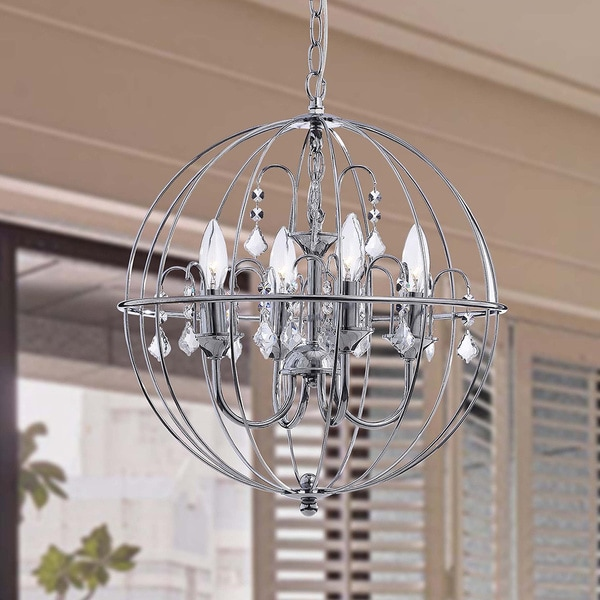 benita chrome finish metal orb crystal chandelier
