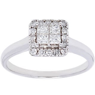 14k White Gold 1/2ct TDW Diamond Cluster Solitaire Estate Ring (H-I, SI1-SI2/ Size 6.75)