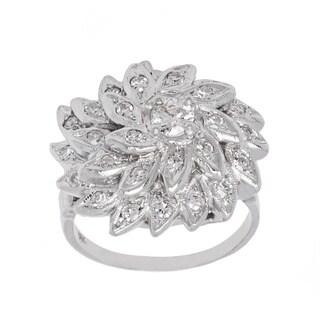 14k White Gold 3/5ct TDW Diamond Floral Cocktail Ring (G-H, VS1-VS2)