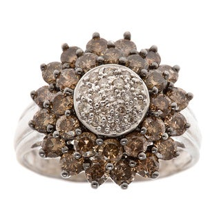 14k White Gold 1.75ct TDW Sunflower Estate Ring (H-I / Chocolate, SI1-SI2)